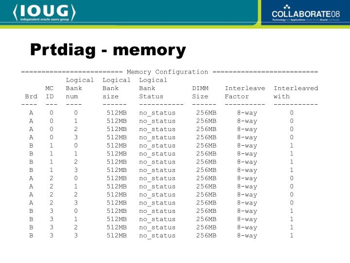 Prtdiag - memory
