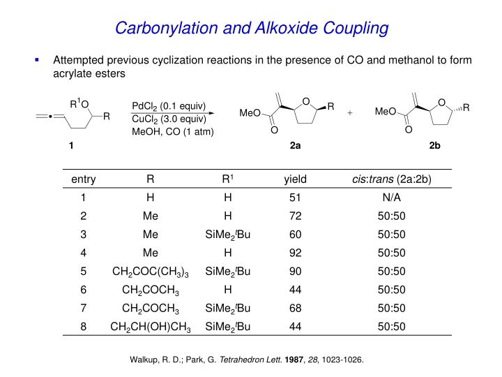 Carbonylation and Alkoxide Coupling