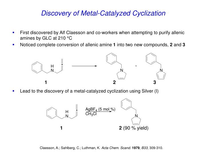 Discovery of metal catalyzed cyclization