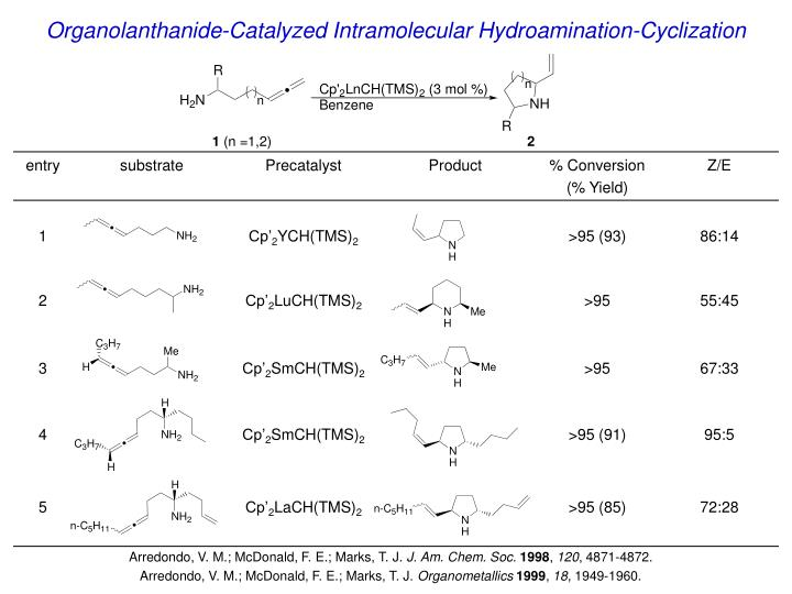 Organolanthanide-Catalyzed Intramolecular Hydroamination-Cyclization