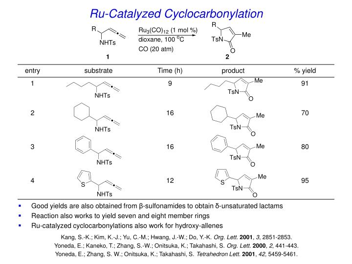 Ru-Catalyzed Cyclocarbonylation