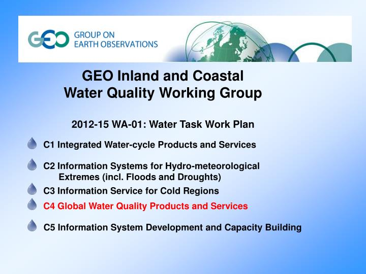 GEO Inland and Coastal Water Quality Working Group