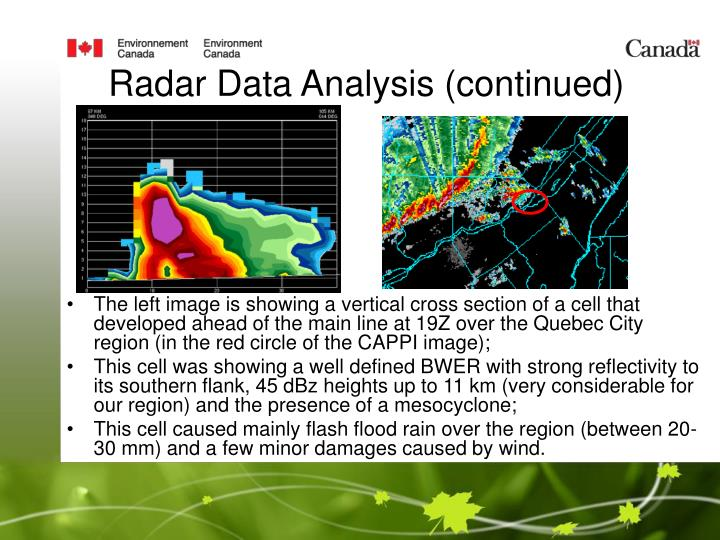 Radar Data Analysis (continued)