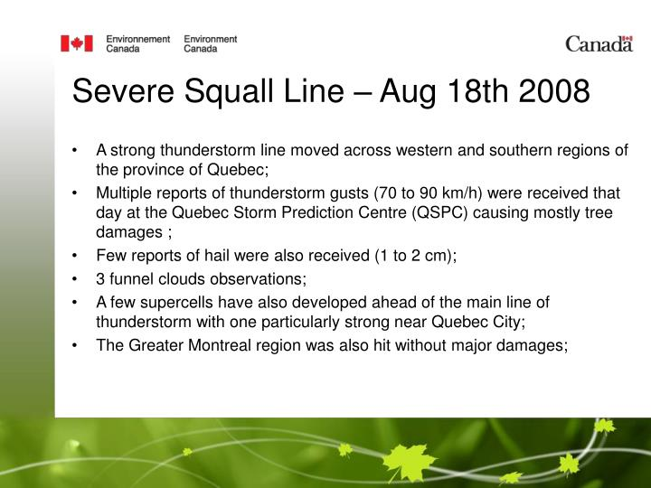 Severe Squall Line – Aug 18th 2008