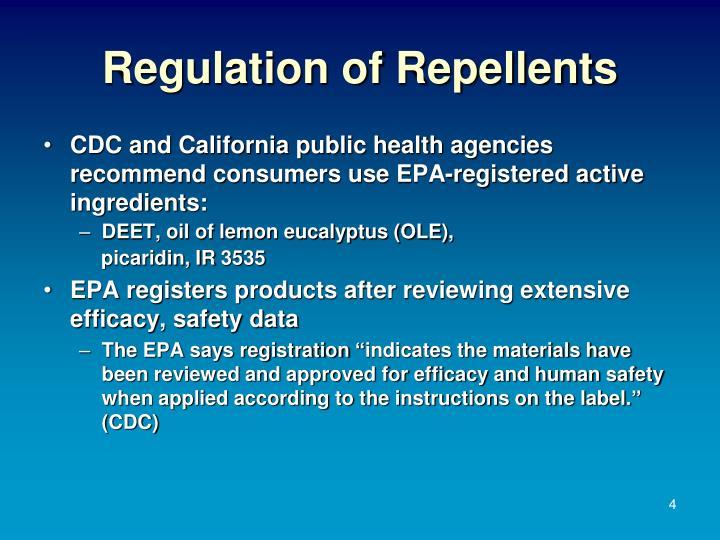 Regulation of Repellents