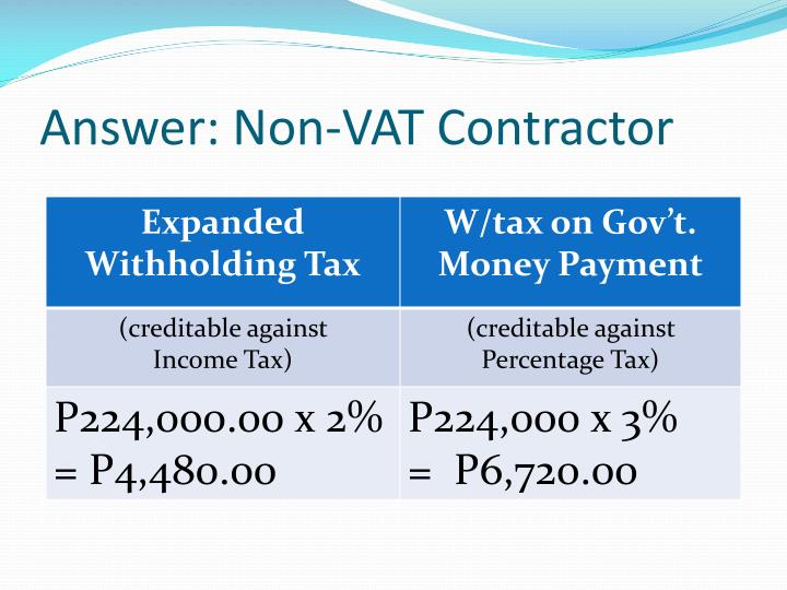 Answer: Non-VAT Contractor