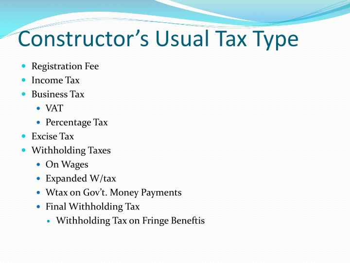 Constructor's Usual Tax Type