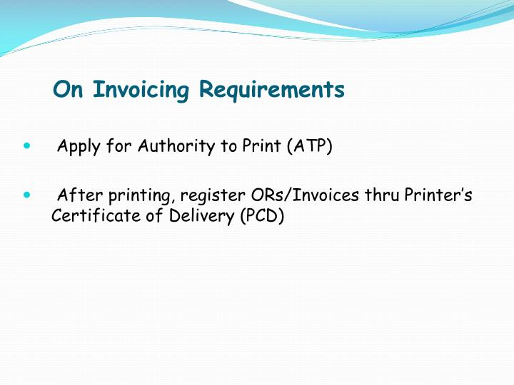 On Invoicing Requirements