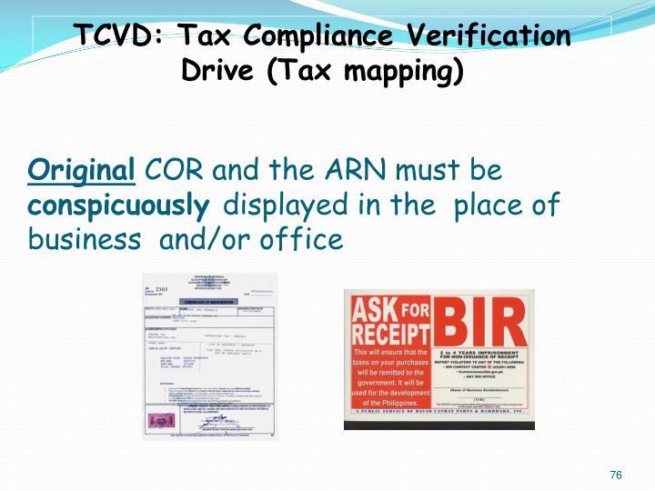 TCVD: Tax Compliance Verification Drive (Tax mapping)