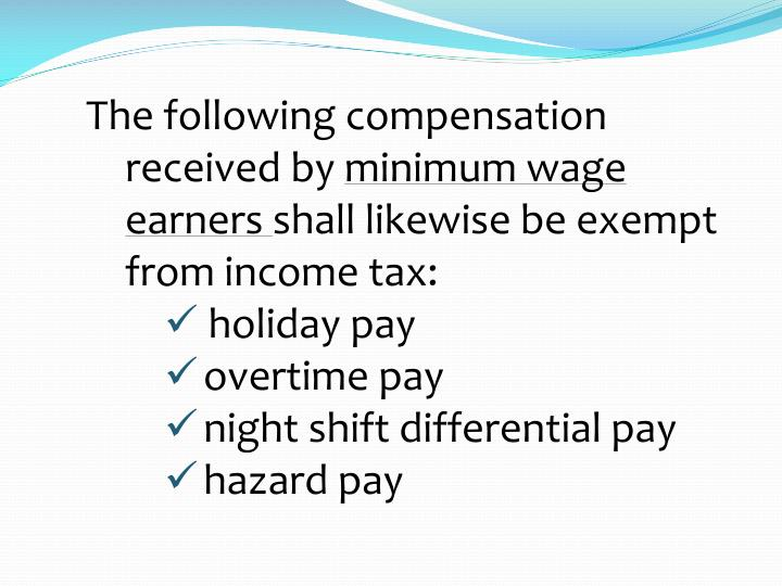 The following compensation received by