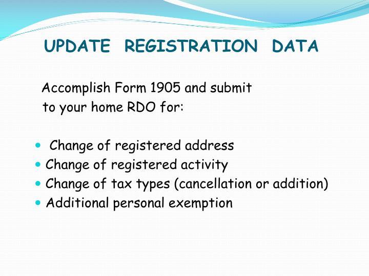 UPDATE  REGISTRATION  DATA