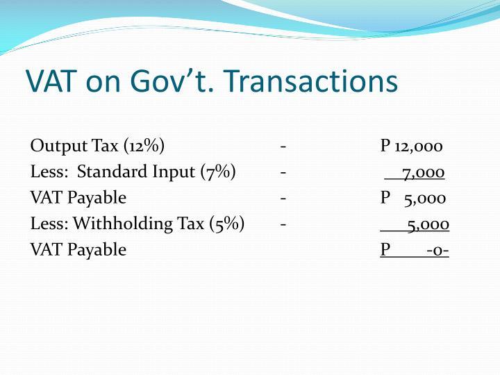 VAT on Gov't. Transactions