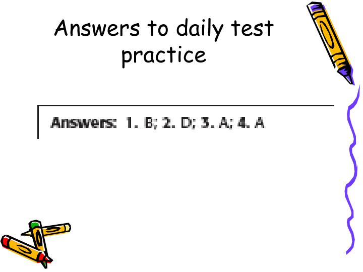 Answers to daily test practice