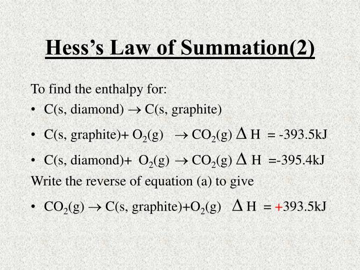 Hess's Law of Summation(2)