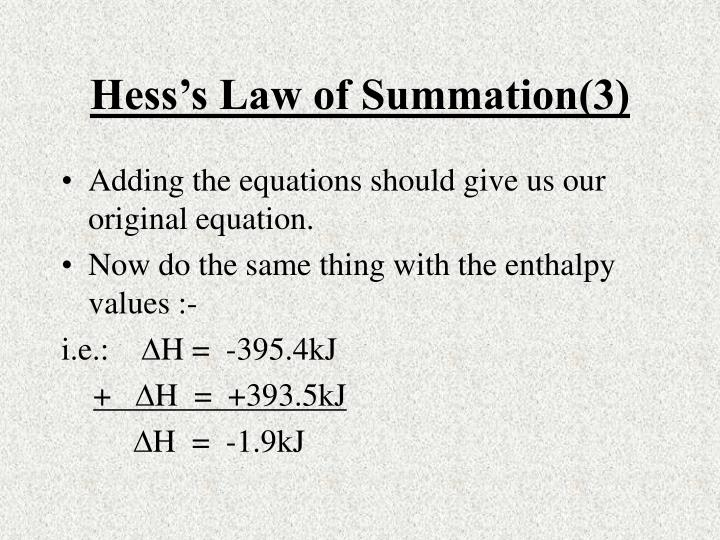 Hess's Law of Summation(3)