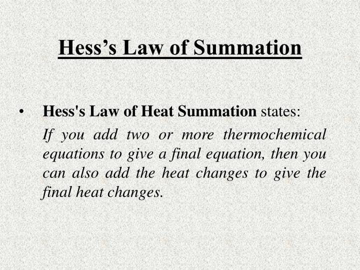 Hess's Law of Summation