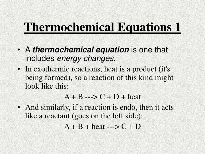 Thermochemical equations 1