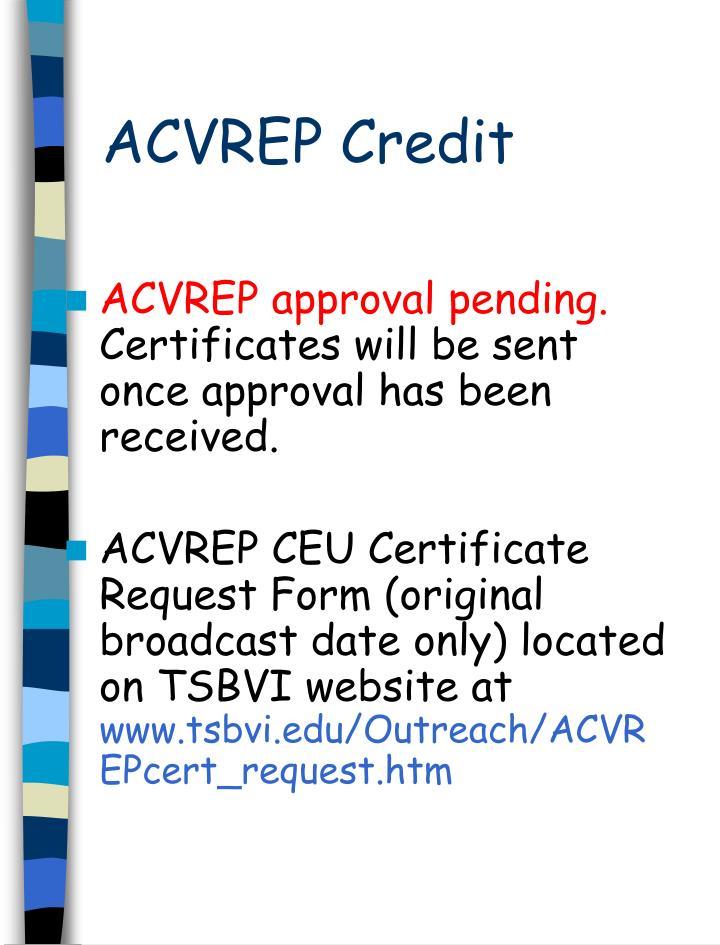 ACVREP Credit