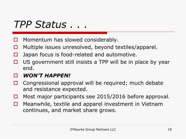 TPP Status . . .