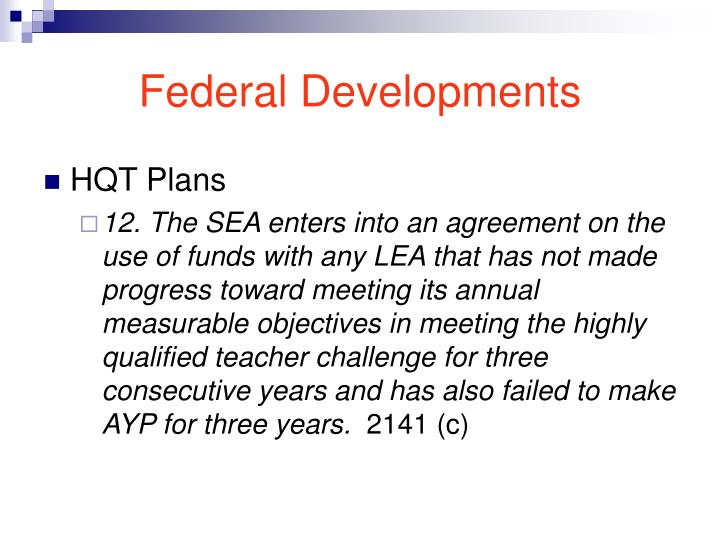 Federal Developments