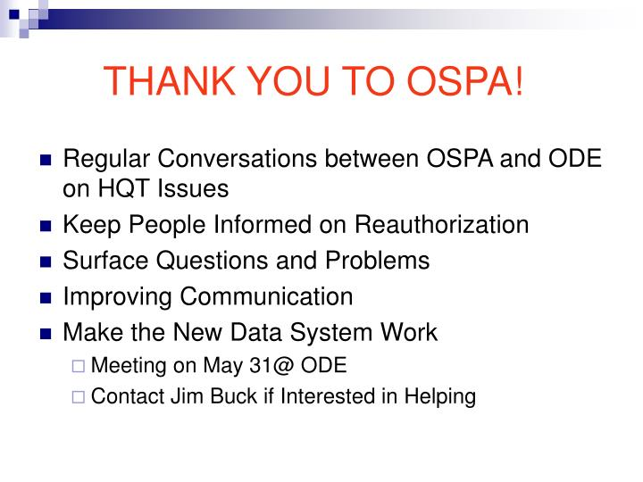 THANK YOU TO OSPA!
