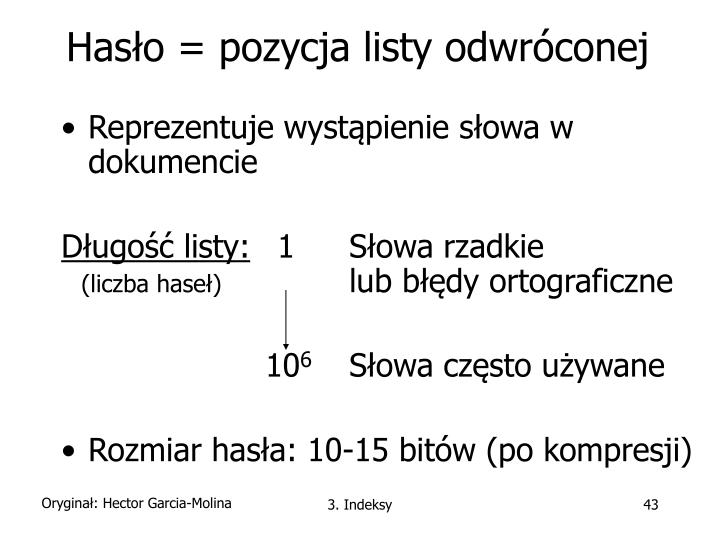 Hasło = pozycja listy odwróconej