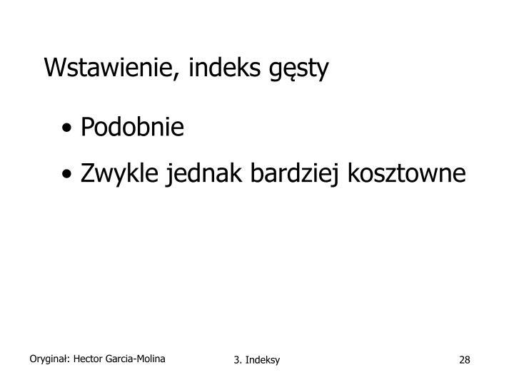 Wstawienie, indeks gęsty
