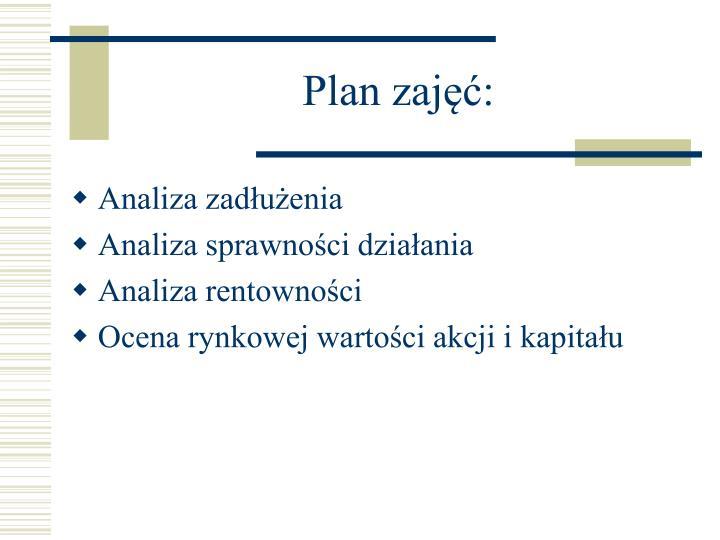 Plan zajęć: