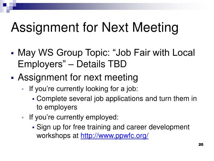 "May WS Group Topic: ""Job Fair with Local Employers"" – Details TBD"