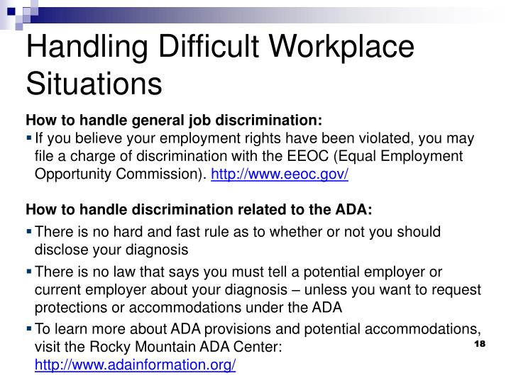 How to handle general job discrimination: