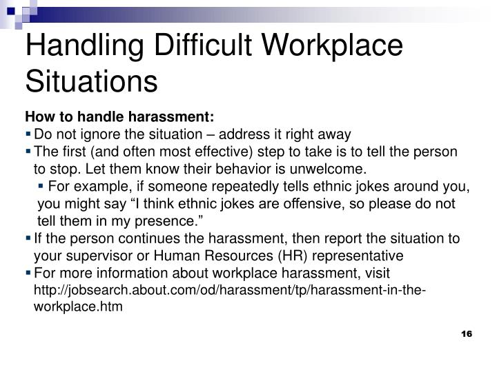 How to handle harassment: