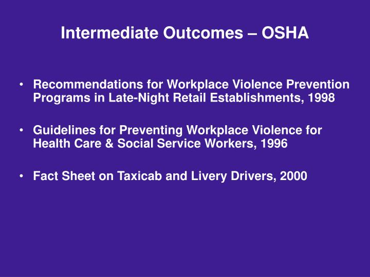 Intermediate Outcomes – OSHA