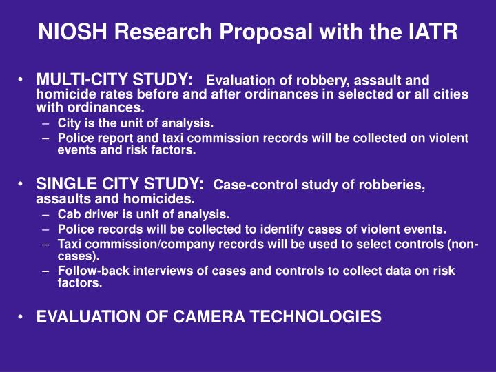 NIOSH Research Proposal with the IATR
