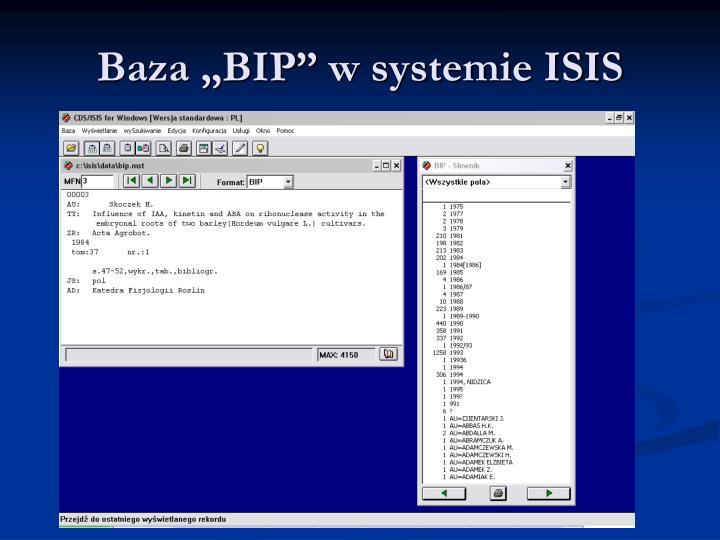 "Baza ""BIP"" w systemie ISIS"