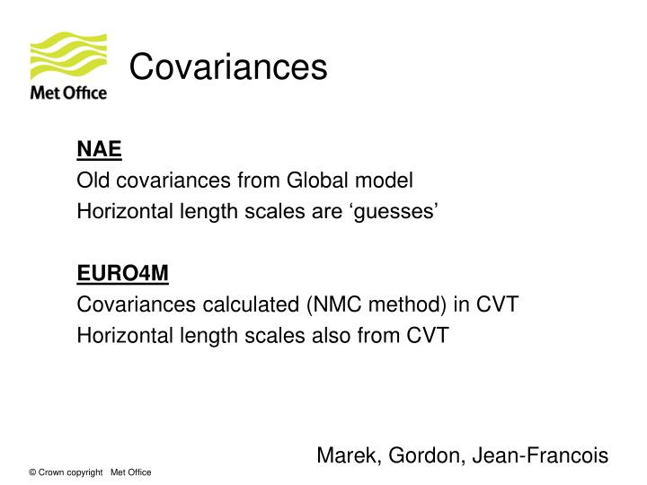 Covariances