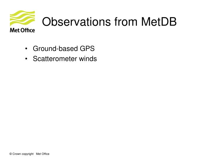 Observations from MetDB