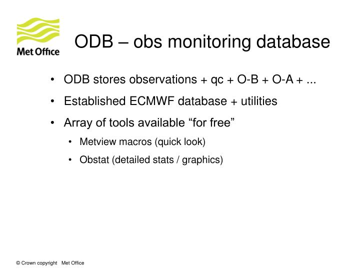ODB – obs monitoring database