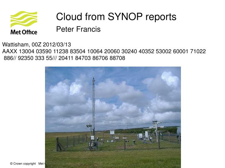 Cloud from SYNOP reports