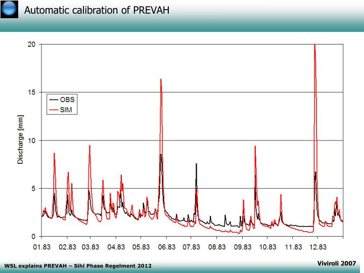 Automatic calibration of PREVAH