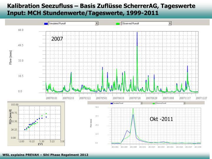 Kalibration Seezufluss – Basis Zuflüsse ScherrerAG, Tageswerte