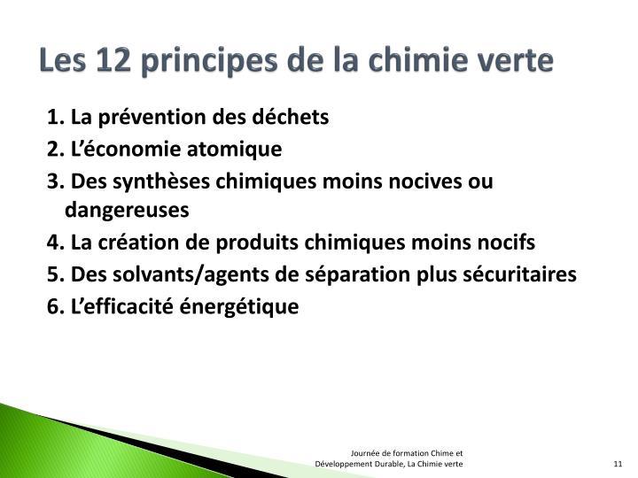 Les 12 principes de la chimie verte