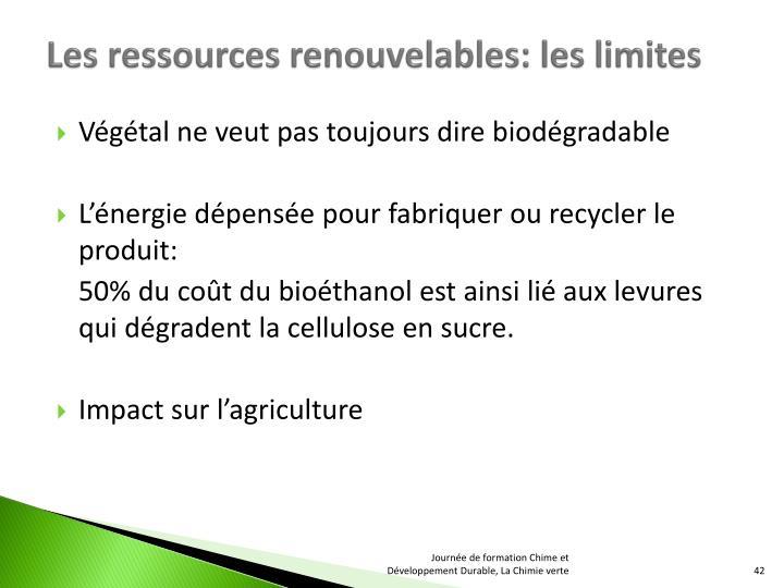 Les ressources renouvelables: les limites