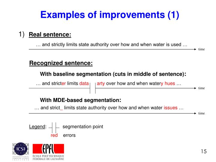 Examples of improvements (1)