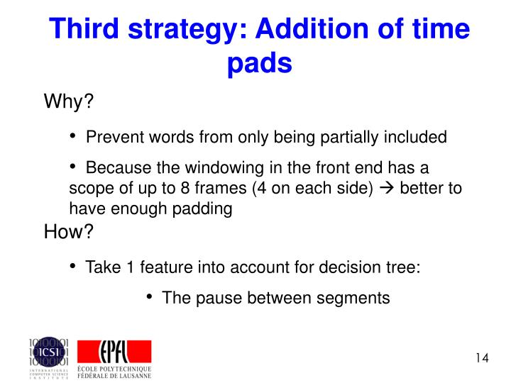 Third strategy: Addition of time pads