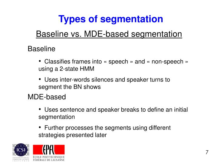 Types of segmentation
