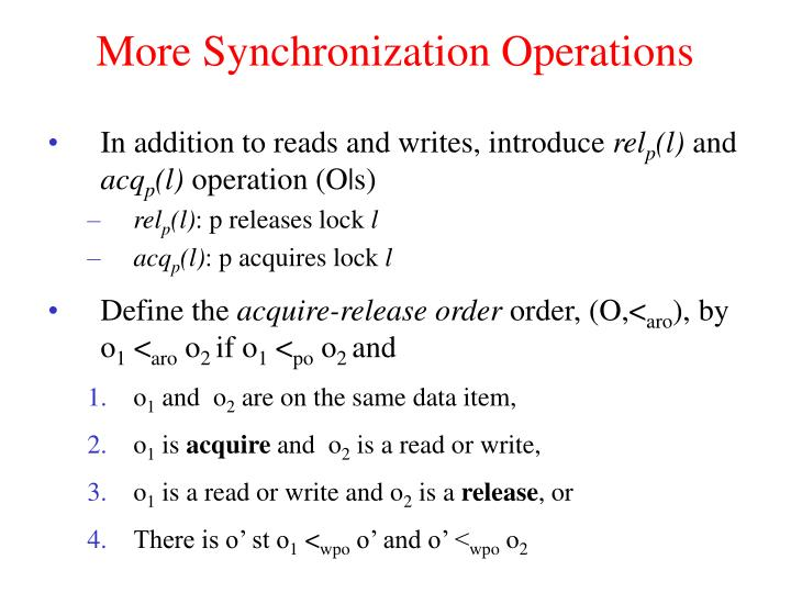 More Synchronization Operations