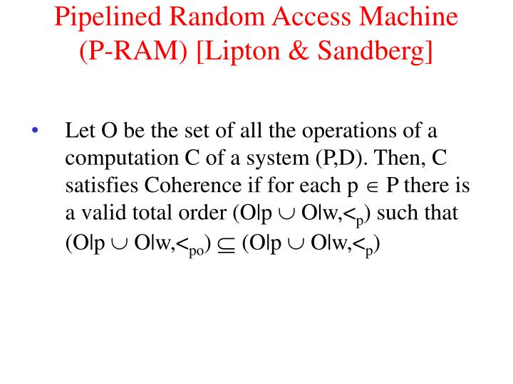 Pipelined Random Access Machine
