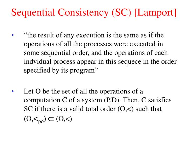 Sequential Consistency (SC) [Lamport]