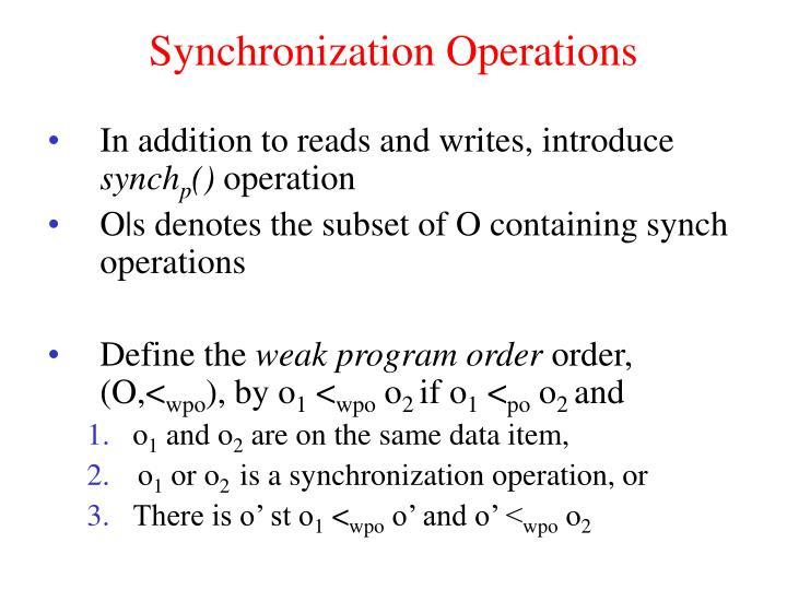 Synchronization Operations