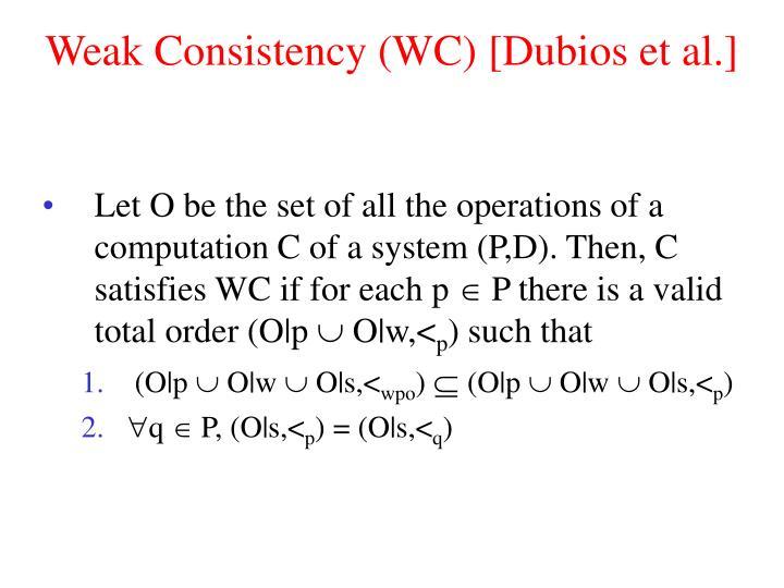 Weak Consistency (WC) [Dubios et al.]